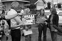 """Actress Jodie Foster, age 14, working on location in """"Americans,"""" a documentary by British producer/director Desmond Wilcox. Los Angeles, June, 1977. Photo by John G. Zimmerman. P94427-C05-F6A."""