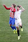 Atletico de Madrid's Antoine Griezmann (l) and Sevilla FC's Clement Lenglet during La Liga match. March 19,2017. (ALTERPHOTOS/Acero)
