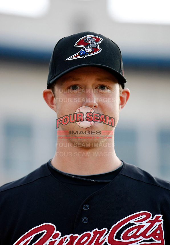 Trystan Magnuson #44 of the Sacramento RiverCats prior to the Pacific Coast League game against the Tucson Padres at Kino Stadium on June 24, 2011  in Tucson, Arizona. Bill Mitchell/Four Seam Images.