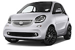 Stock pictures of low aggressive front three quarter view of 2016 Smart fortwo prime 3 Door Micro Car Low Aggressive