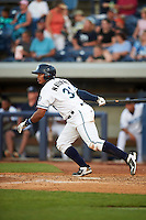 West Michigan Whitecaps catcher Franklin Navarro (31) at bat during a game against the Burlington Bees on July 25, 2016 at Fifth Third Ballpark in Grand Rapids, Michigan.  West Michigan defeated Burlington 4-3.  (Mike Janes/Four Seam Images)