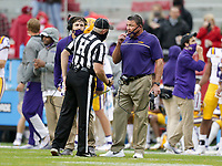 LSU head coach Ed Orgeron talks to an official, Saturday, November 21, 2020 during the fourth quarter of a football game at Donald W. Reynolds Razorback Stadium in Fayetteville. Check out nwaonline.com/201122Daily/ for today's photo gallery. <br /> (NWA Democrat-Gazette/Charlie Kaijo)