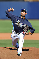 Tampa Bay Rays pitcher Matt Bush #59 delivers a pitch during a spring training game against the Baltimore Orioles at the Charlotte County Sports Park on March 5, 2012 in Port Charlotte, Florida.  (Mike Janes/Four Seam Images)