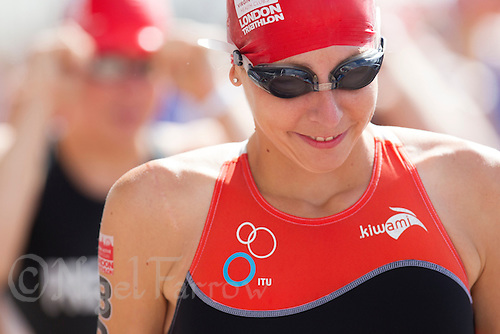 28 JUL 2013 - LONDON, GBR - Eloise Crowley waits for the start of the Elite Women's race during the 2013 Virgin Active London Triathlon at Excel, Royal Victoria Dock in London, Great Britain (PHOTO COPYRIGHT © 2013 NIGEL FARROW, ALL RIGHTS RESERVED)