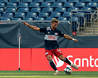 FOXBOROUGH, MA - JULY 23: Pierre Cayet #44 of New England Revolution II passes the ball during a game between Toronto FC II and New England Revolution II at Gillette Stadium on July 23, 2021 in Foxborough, Massachusetts.