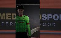 stage winner Pierre Rolland (FRA/Cannondale-Drapac) appearing on the podium<br /> <br /> Stage 17: Tirano › Canaze (219km)<br /> 100th Giro d'Italia 2017