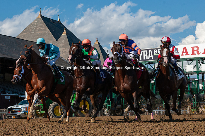 August 22, 2020: HALLADAY #5, ridden by LUIS SAEZ, wins the The FourStarDave gr1 at Saratoga Race Course in Saratoga Springs, New York. Rob Simmons/CSM