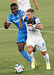 Getafe CF's Djene Dakoman (l) and Atalanta BC's Alejandro Gomez during friendly match. August 10,2019. (ALTERPHOTOS/Acero)