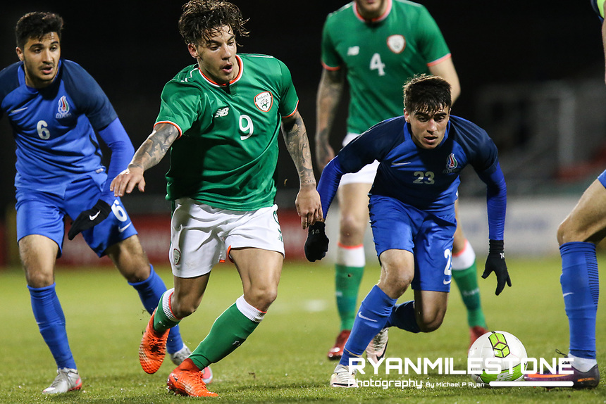Republic of Ireland's Reece Grego-Cox in action against Hajiaga Hajiyev of Azerbaijan during the 2019 UEFA Under 21 European Qualifying Round between the Republic of Ireland and Azerbaijan on Tuesday 27th March 2018 at Tallaght Stadium, Dublin. Photo By Michael P Ryan