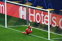 14th April 2021; Induna Park, Dortmund, Germany; UEFA Champions League Football quarter-final, Borussia Dortmund versus Manchester City; Man City goal for 1:1 from the penalty by Riyad Mahrez  Manchester past keeper Marvin Hitz Borussia Dortmund