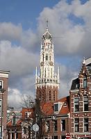 Nederland Haarlem - 2020.  De Bakenesserkerk, gelegen in de buurt Bakenes. Opvallend is de witte toren.  Foto : ANP/ HH / Berlinda van Dam