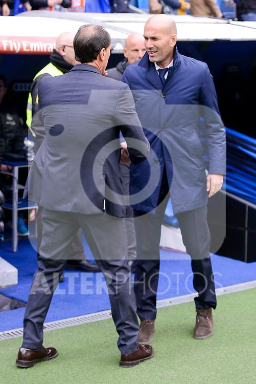 Real Madrid's coach Zinedine Zidane and Valencia CF's coach Salvador Gonzalez Marco Voro during La Liga match between Real Madrid and Valencia CF at Santiago Bernabeu Stadium in Madrid, April 29, 2017. Spain.<br /> (ALTERPHOTOS/BorjaB.Hojas)