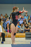 LOS ANGELES, CA - February 5, 2012:  Stanford's Shona Morgan during competition against the UCLA Bruins at the Wooden Center.   UCLA defeated Stanford, 197.250 - 196.450.