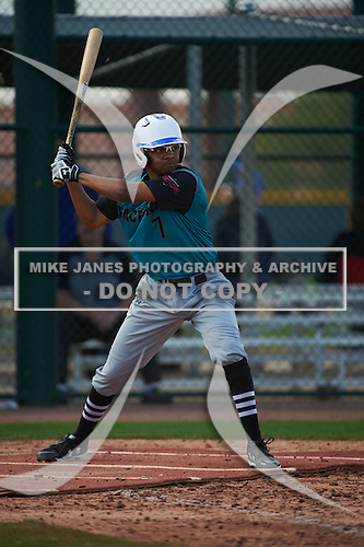Amani Karim (7) of Birmingham Brother Rice High School in Detroit, Michigan during the Under Armour All-American Pre-Season Tournament presented by Baseball Factory on January 14, 2017 at Sloan Park in Mesa, Arizona.  (Art Foxall/Mike Janes Photography)
