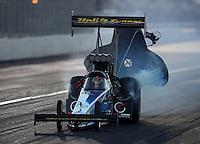 Nov. 10, 2012; Pomona, CA, USA: NHRA top fuel dragster driver Cory McClenathan during qualifying for the Auto Club Finals at at Auto Club Raceway at Pomona. Mandatory Credit: Mark J. Rebilas-