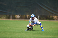 South Dakota State Jackrabbits right fielder Logan Holtz (6) fields a ground ball during a game against the FIU Panthers on February 23, 2019 at North Charlotte Regional Park in Port Charlotte, Florida.  South Dakota State defeated FIU 4-3.  (Mike Janes/Four Seam Images)