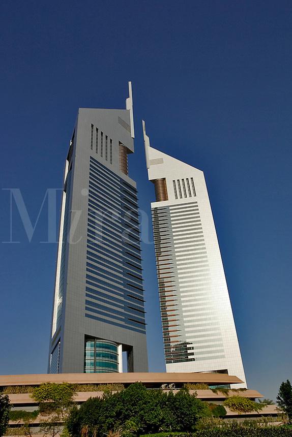 Dubai, United Arab Emirates.  Emirates Towers. Modern office block and restaurants near Abu Dhabi Road..