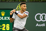 March 11, 2019: Felix Auger-Aliassime (CAN) was defeated by Yoshihito Nishioka (JPN) 6-7, 6-4, 7-6 at the BNP Paribas Open at the Indian Wells Tennis Garden in Indian Wells, California. ©Mal Taam/TennisClix/CSM