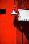Red Wall with Lamp and Awning