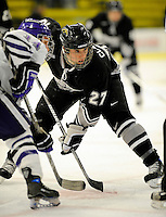 30 December 2007: Western Michigan University Broncos' forward Chris Clackson, a Sophomore from Pittsburgh, PA, in action against the Holy Cross Crusaders at Gutterson Fieldhouse in Burlington, Vermont. The teams skated to a 1-1 tie, however the Broncos took the consolation game in a 2-0 shootout to win the third game of the Sheraton/TD Banknorth Catamount Cup Tournament...Mandatory Photo Credit: Ed Wolfstein Photo