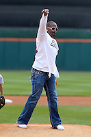Buffalo Bills running back Fred Jackson throws out the ceremonial first pitch before a Buffalo Bisons game against the Lehigh Valley IronPigs at Coca-Cola Field on April 19, 2012 in Buffalo, New York.  Lehigh Valley defeated Buffalo 8-4.  (Mike Janes/Four Seam Images)