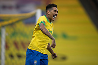 9th October 2020; Arena Corinthians, Sao Paulo, Sao Paulo, Brazil; FIFA World Cup Football Qatar 2022 qualifiers; Brazil versus Bolivia; Roberto Firmino of Brazil celebrates his second goal in the 49th minute 3-0