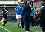 Motherwell v St Johnstone…20.10.18…   Fir Park    SPFL<br />Liam Gordon comes off with a bloody nose<br />Picture by Graeme Hart. <br />Copyright Perthshire Picture Agency<br />Tel: 01738 623350  Mobile: 07990 594431