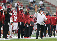 Arkansas head coach Sam Pittman gestures, Saturday, November 21, 2020 during the second quarter of a football game at Donald W. Reynolds Razorback Stadium in Fayetteville. Check out nwaonline.com/201122Daily/ for today's photo gallery. <br /> (NWA Democrat-Gazette/Charlie Kaijo)