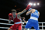 Glasgow 2014 Commonwealth Games<br /> <br /> Sean McGoldrick, Wales (Blue) v Michael Conlan, Northern Ireland (Red)<br /> Men's Bantam (56kg) Bronze bout.<br /> <br /> 01.08.14<br /> ©Steve Pope-SPORTINGWALES