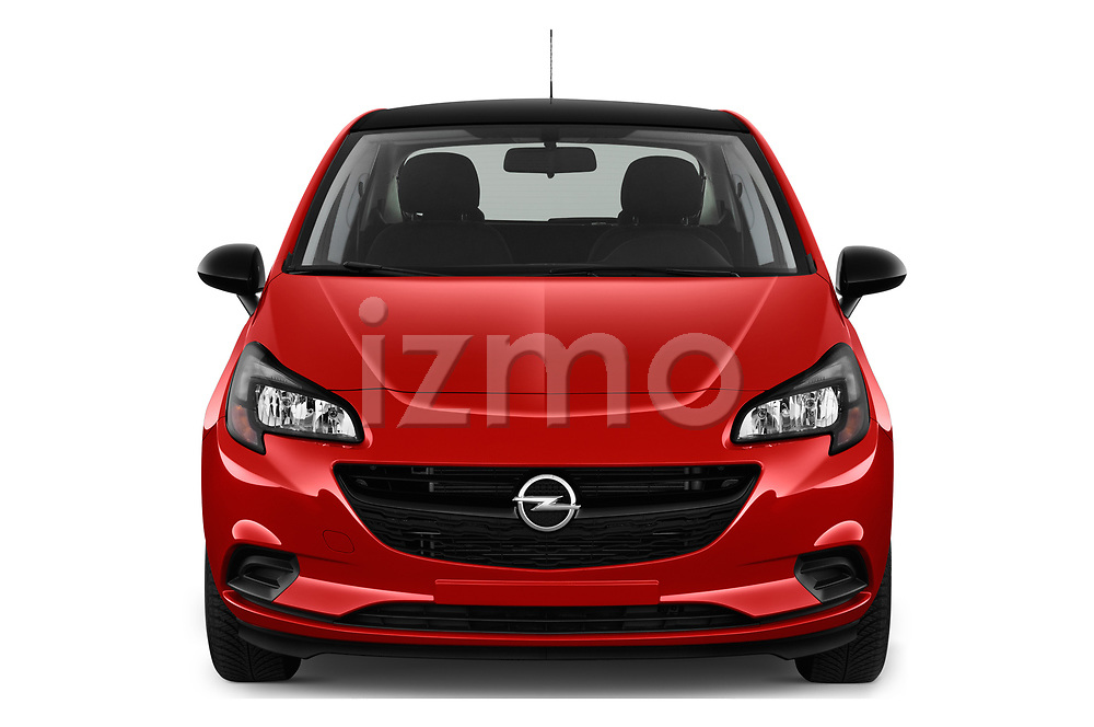 Car photography straight front view of a 2018 Opel Corsa Black-Edition 5 Door Hatchback Front View