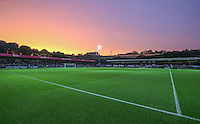 A beautiful sunset takes place at Adams Park during the Capital One Cup match between Wycombe Wanderers and Fulham at Adams Park, High Wycombe, England on 11 August 2015. Photo by Andy Rowland.