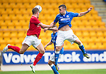 St Johnstone v York City...19.07.14  <br /> Craig Thomson clears from Jake Hyde<br /> Picture by Graeme Hart.<br /> Copyright Perthshire Picture Agency<br /> Tel: 01738 623350  Mobile: 07990 594431