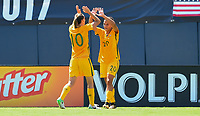 San Diego, CA - Sunday July 30, 2017: Emily Van Egmond, Sam Kerr during a 2017 Tournament of Nations match between the women's national teams of the Australia (AUS) and Japan (JAP) at Qualcomm Stadium.