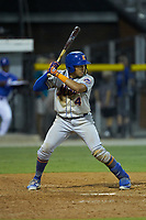Guillermo Granadillo (4) of the Kingsport Mets at bat against the Burlington Royals at Burlington Athletic Stadium on July 27, 2018 in Burlington, North Carolina. The Mets defeated the Royals 8-0.  (Brian Westerholt/Four Seam Images)