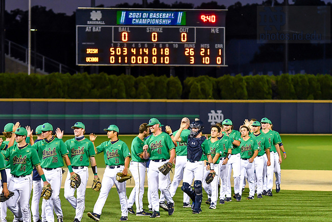 June 5, 2021; Notre Dame defeated Uconn 26-3 in the NCAA Baseball regional tournament at Eck Baseball Stadium. (Photo by Matt Cashore/University of Notre Dame)
