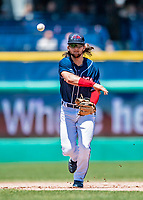 31 May 2018: New Hampshire Fisher Cats infielder Bo Bichette gets the third out of the 5th inning against the Portland Sea Dogs at Northeast Delta Dental Stadium in Manchester, NH. The Sea Dogs defeated the Fisher Cats 12-9 in extra innings. Mandatory Credit: Ed Wolfstein Photo *** RAW (NEF) Image File Available ***