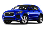 Stock pictures of low aggressive front three quarter view of a 2019 Jaguar E-PACE R-Dynamic S 5 Door SUV