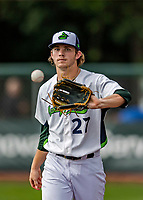21 July 2019: Vermont Lake Monsters pitcher Tyler Baum keep warm between innings during a game against the Tri-City ValleyCats at Centennial Field in Burlington, Vermont. The Lake Monsters rallied to defeat the ValleyCats 6-3 in NY Penn League play. Mandatory Credit: Ed Wolfstein Photo *** RAW (NEF) Image File Available ***