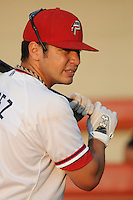Outfielder J.P. Ramirez (9) of the Potomac Nationals, Carolina League affiliate of the Washington Nationals, prior to a game against the Salem Red Sox on June 16, 2011, at Pfitzner Stadium in Woodbridge, Va. Photo by Tom Priddy / Four Seam Images