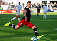 WASHINGTON, DC - MARCH 07: Russell Canouse #4 of DC United takes a shot during a game between Inter Miami CF and D.C. United at Audi Field on March 07, 2020 in Washington, DC.