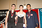 Concept2 Crash-B World Indoor Rowing Championships, 2012, Mathew Segal, (center), St.George's High School, Winner, Lightweight Junior Men, Kris Hobbs, McLean High School Crew Club, 2nd, Joao Pedro Medeiros Kubit, Brazilian Rowing Federation, 3rd, athletes compete annually on a Concept2 Indoor Rower for time over 2000 meters, Agganis Arena, Boston University, Boston, Massachusetts,