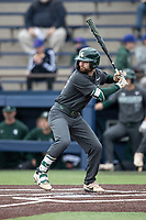 Michigan State Spartans third baseman Zach Iverson (32) at bat in the NCAA baseball game against the Michigan Wolverines on May 7, 2019 at Ray Fisher Stadium in Ann Arbor, Michigan. Michigan defeated Michigan State 7-0. (Andrew Woolley/Four Seam Images)