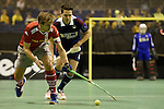 Berlin, Germany, January 31: During the 1. Bundesliga Herren Hallensaison 2014/15 semi-final hockey match between Rot-Weiss Koeln (dark blue) and Club an der Alster (red) on January 31, 2015 at the Final Four tournament at Max-Schmeling-Halle in Berlin, Germany. Final score 4-3 (2-2). (Photo by Dirk Markgraf / www.265-images.com) *** Local caption *** Alessio Ress #7 of Club an der Alster, Joshua Delarber #6 of Rot-Weiss Koeln