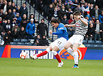 Fran Sandaza's shot is parried away by keeper Neil Parry as Paul Gallacher watches