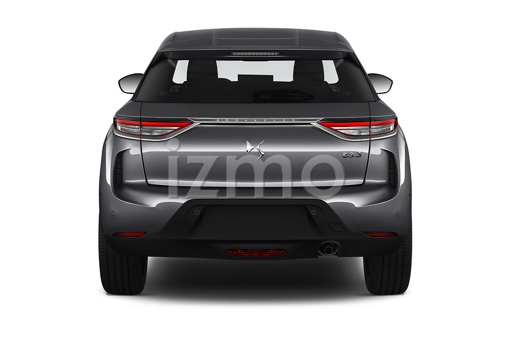 Straight rear view of 2019 Ds DS-3-Crossback Grand-Chic 5 Door SUV Rear View  stock images
