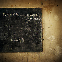 Teacher's notes on the blackboard in a classroom for a Grade 1 English class, Chimbiri school...In Ethiopia, there are 68 pupils for every primary teacher, and at upper primary level fewer than 25% of teachers are professionally qualified. One of the problems facing the country is not the amount of teachers, but the quality of their training...