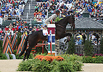 Stanislas De Zuchowicz and Quirinal de la Bastide of France compete in the final stadium jumping round of the FEI  World Eventing Championship at the Alltech World Equestrian Games in Lexington, Kentucky.