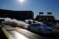 Sept. 23, 2011; Ennis, TX, USA: NHRA pro stock driver Allen Johnson during qualifying for the Fall Nationals at the Texas Motorplex. Mandatory Credit: Mark J. Rebilas-
