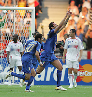 Italian defender (23) Marco Materazzi celebrates his goal.  Italy defeated France on penalty kicks after leaving the score tied, 1-1, in regulation time in the FIFA World Cup final match at Olympic Stadium in Berlin, Germany, July 9, 2006.