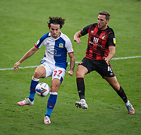 Blackburn Rovers' Lewis Travis (left) under pressure from Bournemouth's Dan Gosling (right) <br /> <br /> Photographer David Horton/CameraSport <br /> <br /> The EFL Sky Bet Championship - Bournemouth v Blackburn Rovers - Saturday September 12th 2020 - Vitality Stadium - Bournemouth<br /> <br /> World Copyright © 2020 CameraSport. All rights reserved. 43 Linden Ave. Countesthorpe. Leicester. England. LE8 5PG - Tel: +44 (0) 116 277 4147 - admin@camerasport.com - www.camerasport.com